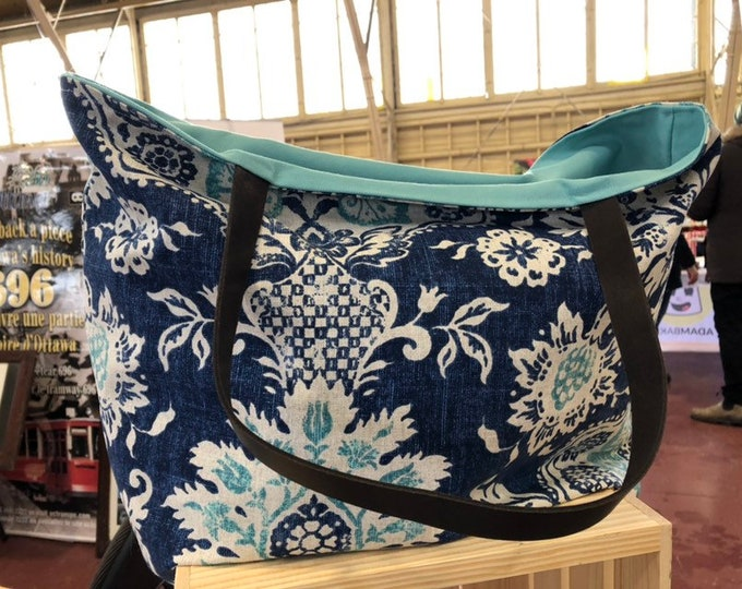 The WEEKENDER Bag | Beach Tote Navy and Aqua Floral Print Canvas