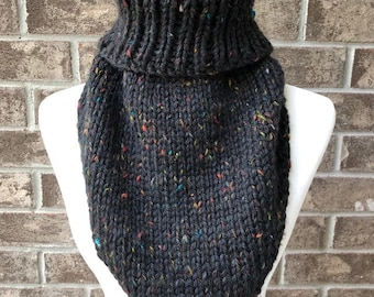 The MARIELLE Handkerchief Cowl - Black w/Red/Yellow/Green