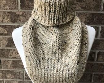 The MARIELLE Handkerchief Cowl - Beige Tweed