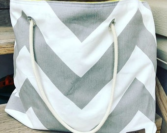 The WEEKENDER Bag | Beach Tote Chevron Print Canvas