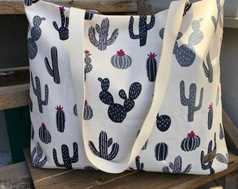The WEEKENDER Bag | Beach Tote  Cactus Print Canvas