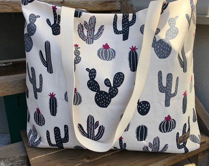 The WEEKENDER Bag | Beach Tote  Cactus Print Canvas