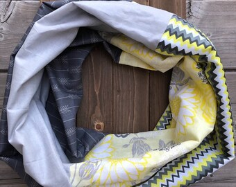 Yellow/White/Grey Cotton Patchwork Infinity Scarf
