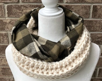 The WELLINGTON Crochet and Plaid Flannel Infinity Scarf - Olive Plaid w/Ivory