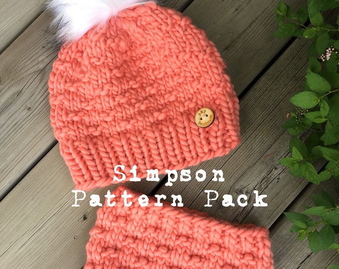 The SIMPSON Pattern Pack - Beanie and Headband/Ear Warmer - KNIT PATTERN