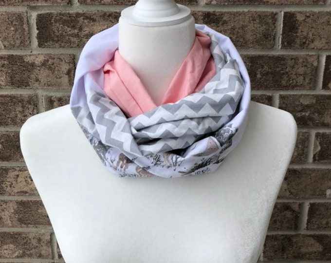 Pink/White/Grey Cotton Patchwork Infinity Scarf