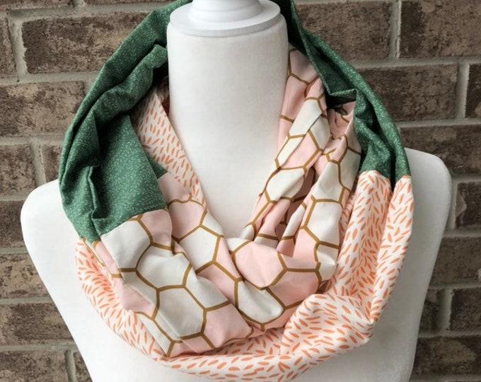 Green/ Salmon/Cream Cotton Patchwork Infinity Scarf