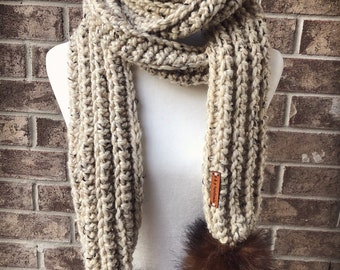 The COMBERMERE Oversized Pom Pom Scarf - Oatmeal w/Large Chestnut Faux Fur Poms