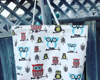 The WEEKENDER Bag | Beach Tote | Owl Pattern Canvas