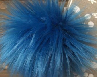 Cobalt Faux Fur Pom