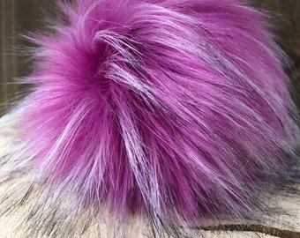 Raspberry Faux Fur Pom