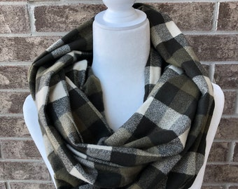 Olive Plaid Flannel Infinity Scarf