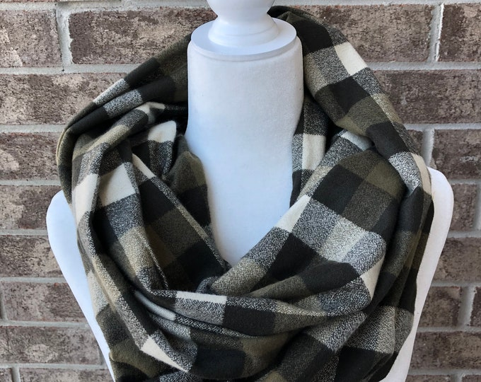 Olive Square Check Flannel Infinity Scarf