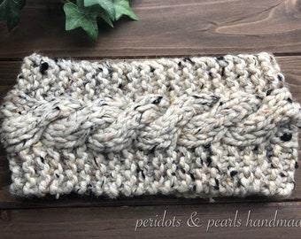 The WHITNEY Cabled Headband - Beige Tweed (Oatmeal)