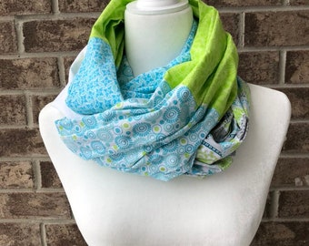 Turquoise/White/Lime Cotton Patchwork Infinity Scarf