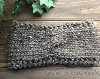 The OONA Twisted Headband - Brown Tweed
