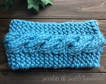 The WHITNEY Cabled Headband - Turquoise