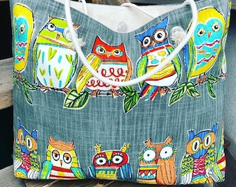 The WEEKENDER Bag | Beach Tote | Colourful Owls Canvas