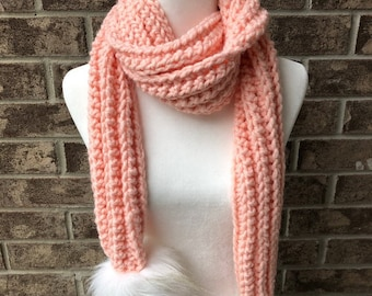 The COMBERMERE Oversized Pom Pom Scarf - Antique Pink w/Large Arctic Hare Faux Fur Poms