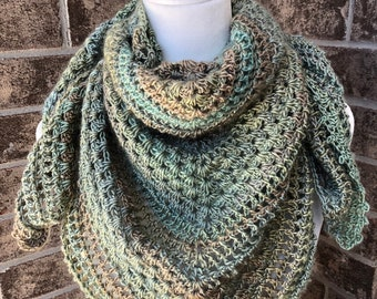 The KALEIDOSCOPE Triangle Scarf | Green, Copper