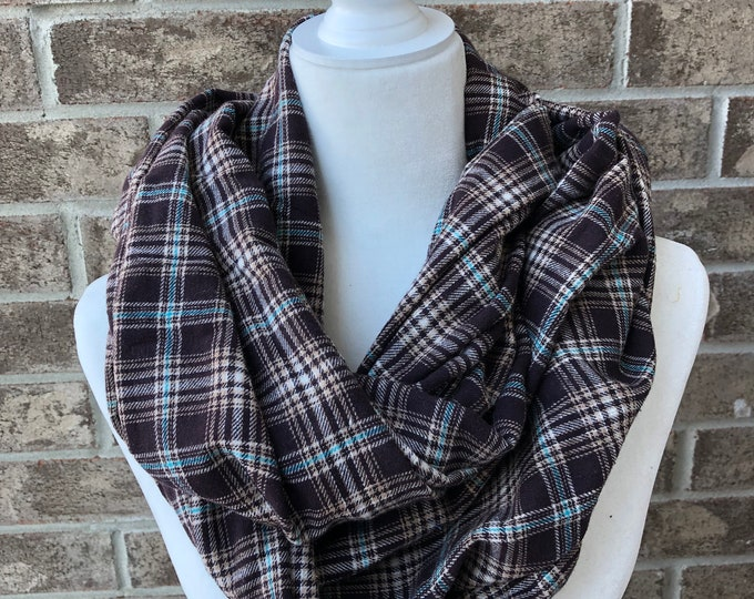 Brown/Turquoise/Cream Plaid Flannel Infinity Scarf