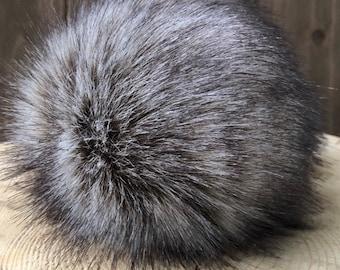 Grey Fox Faux Fur Pom