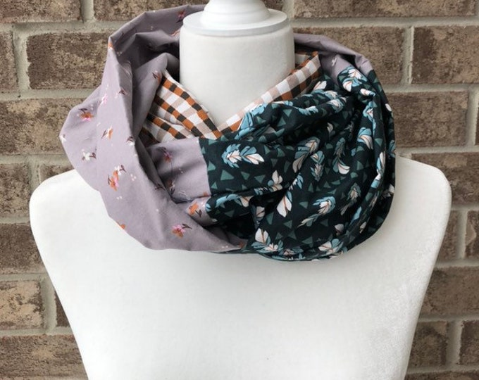 Teal/Grey/Brown Cotton Patchwork Infinity Scarf