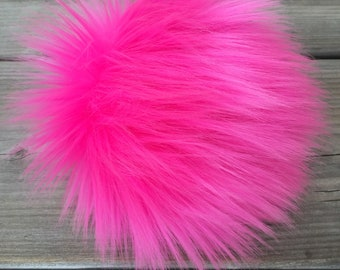 Hot Pink Faux Fur Pom