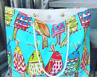 The WEEKENDER Bag | Beach Tote | Colourful Birds Canvas