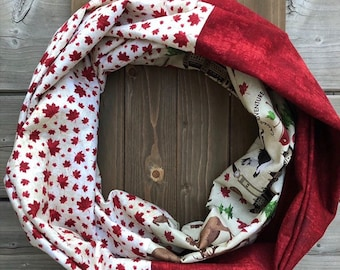 Canada Print Cotton Patchwork Infinity Scarf