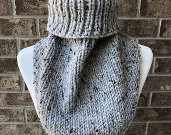 The MARIELLE Handkerchief Cowl - Grey Tweed