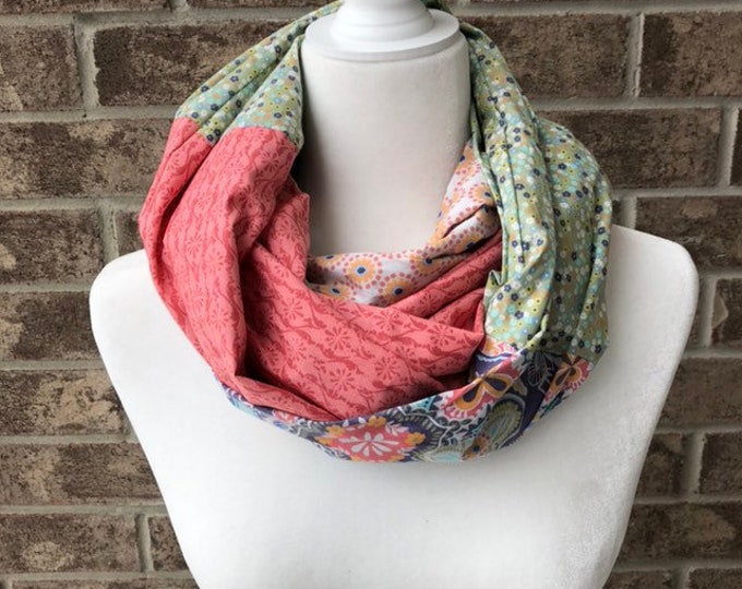 Coral/Green/Blue Cotton Patchwork Infinity Scarf
