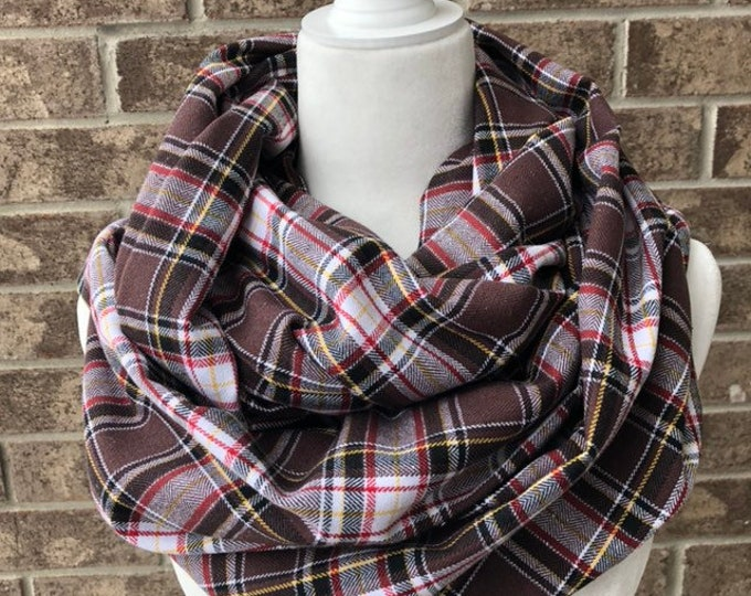 Brown/Black/Red/Yellow/White Plaid Flannel Infinity Scarf