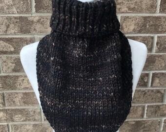 The MARIELLE Handkerchief Cowl - Black w/Brown and Tan