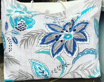 The WEEKENDER Bag | Beach Tote | Blue and Turquoise Floral Canvas