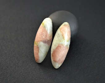 Tourmaline in calcite natural stone cabochons (pair)  31 x 11 x 7 mm