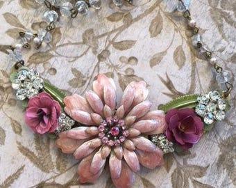 Statement Necklace, Bridal Necklace, Repurposed Necklace, Upcycled Necklace, Assemblage Necklace,Pink Bib Necklace