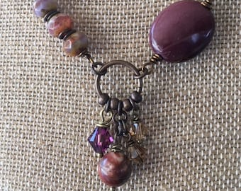 Statement Necklace, Assemblage Necklace, Semi-Precious Stone Necklace, Bird Necklace