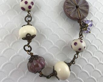 Assemblage Necklace, Statement Necklace, One of a Kind Necklace, Purple Necklace