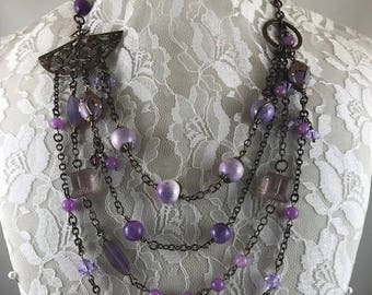 Statement Necklace, Assemblage Necklace, Romantic Necklace, Shades of Purple  Necklace