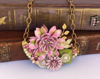 Assemblege Necklace, Statement Necklace, One of a Kind Necklace, Bridal Necklace,