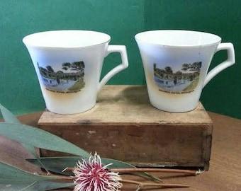Vintage Australian Souvenir China Cups Edwards River Deniliquin (2)