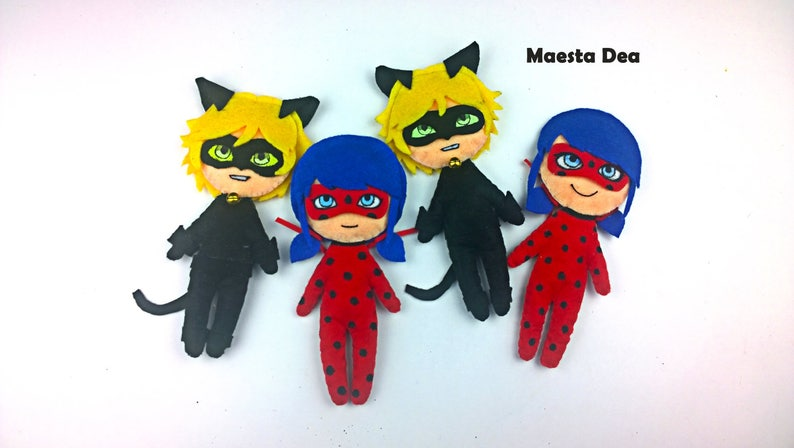 Miraculous Ladybug Plush Plush Ladybug And Cat Noirchat Noir Etsy