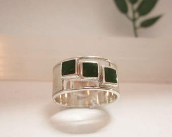 Silver handmade one of a kind ring, green enamel decoration