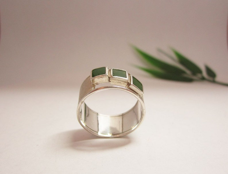 green enamel decoration Silver handmade one of a kind ring