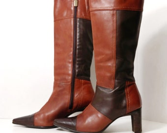 """Store Closing! Vintage Cowhide Leather Women's Patchwork Tall Boots with 3"""" Heel - 1990's, size 37, US size 6, BLONDO - Brown,Cognac"""