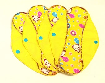 """Kawaii Pandas on Yellow Reusable Pantyliner with wings 9.5""""- Zero Waste cloth liner reusable pad; light days; flannel liner; cotton liner"""