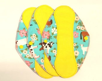 """Yellow on Farm Floral Reusable Pantyliner with wings 9.5""""- Zero Waste cloth liner reusable pad; light days; flannel liner; cotton liner"""