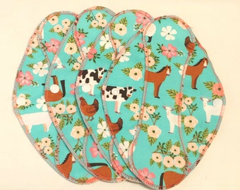 """Farm Floral Animals Reusable Pantyliner with wings 9.5""""- Zero Waste cloth liner reusable pad; light days; flannel liner; cotton liner"""