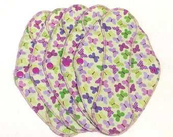 """Butterfly Toss on Green Reusable Pantyliner with wings 9.5""""- Zero Waste - cloth liner; reusable pad; light days; flannel liner; cotton liner"""